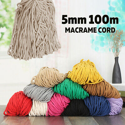 AU9.65 • Buy 5mm 100m Macrame Rustic Rope Colorful Cotton Twisted Cord String DIY Hand