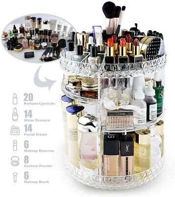 Rotating 360°Makeup Organiser Adjustable Jewelry Cosmetic Perfumes Display Stand • 8.98£