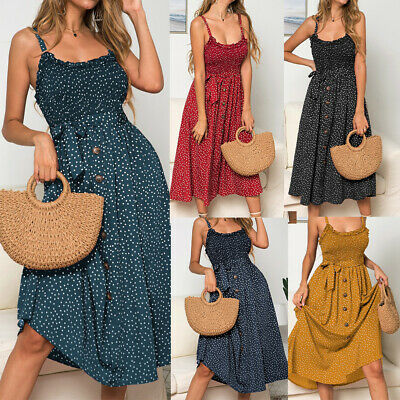 Women Summer Sleeveless Polka Dot Beach Dress Ladies Stretch Holiday Sundress SZ • 14.30£