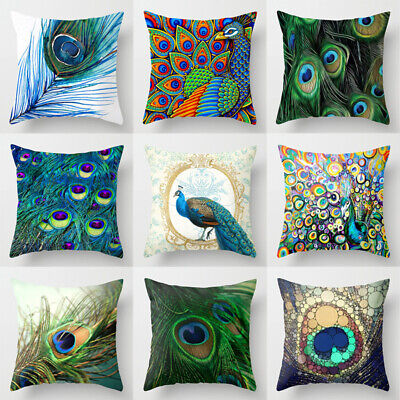 Colorful Peacock Feather Pillow Case Cushion Cover Pillowcase Sofa Car Dec Home • 2.89£