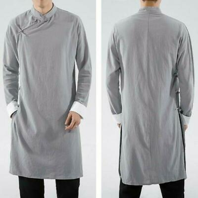 $41.91 • Buy UK Mens Chinese Cotton Linen Tang Suit Coat Solid Loose Long Gown Jackets Hanfu
