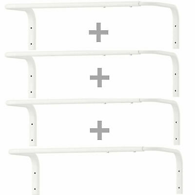 4 X IKEA Wall Mounted Clothes Rail Adjustable Bar Hanging Rack White 60-90cm New • 32.99£