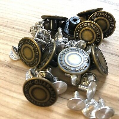 Best Quality Approx 17mm (43/64 ) Hammer On Denim/ Jean Buttons X 10- With Pins • 2.69£