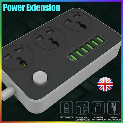 3Way Gang Switched Socket Surge Protect Extension Lead  6 USB Ports 100-250V Set • 12.86£