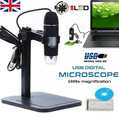 1000X USB Zoom 8 LEDs Microscope Digital Magnifier Endoscope Camera With Video • 17.69£
