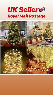 UK 100 LED Lights Wire Fairy String Lights Party Christmas Decoration Lights 10m • 2.49£
