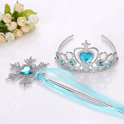 Fairy Tale Kids Princess Cosplay Girls Wand Tiara Crown Dress Up 2 Piece Set UK • 2.35£