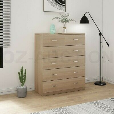 AU249.95 • Buy 6 Chest Of Drawers Tallboy Dresser Table Storage Bedroom Cabinet Furniture Oak