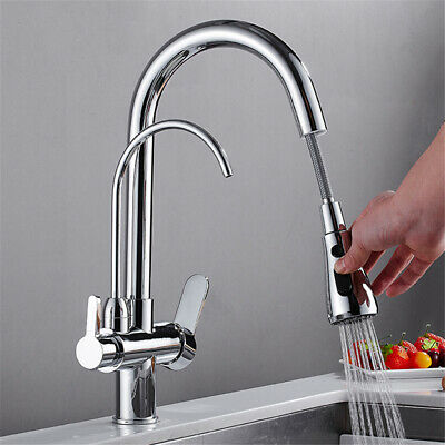 3 In 1 Water Filter Kitchen Tap 2 Levels Pure Drinking Hot Cold Chrome Mixer Tap • 59£