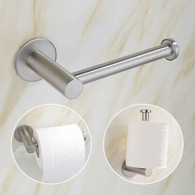 AU6.59 • Buy Stainless Steel Wall-Mount Self Adhesive Bathroom Toilet Roll Paper Holder Stand