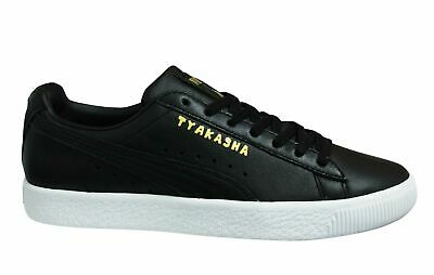 Puma Clyde TYAKASHA Black Leather Low Lace Up Casual Mens Trainers 368070 01 • 44.99£
