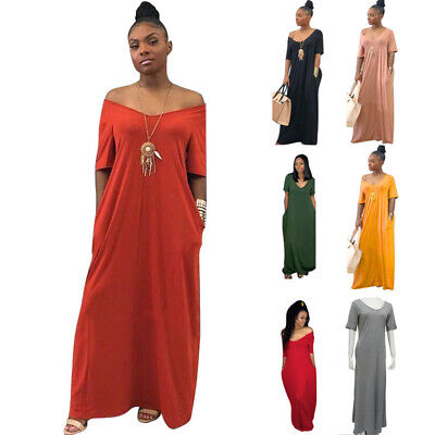 $21.52 • Buy Women Summer Short Sleeve V Neck Solid Casual Maxi Loose Ball Gown Wrap Dress