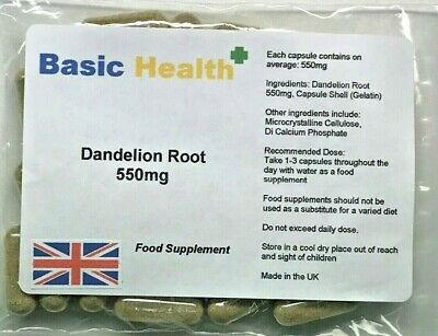 Dandelion 550mg X 120 Whole Root Capsules Water Retention Liver Detox Made In UK • 4.99£