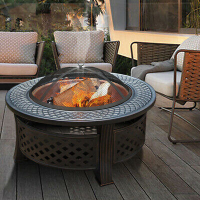 Fire Pit Heavy Large Outdoor Firepit Garden Heater Round Table BBQ Brazier&Grill • 165.95£