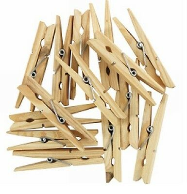 £1.99 • Buy Wooden Clothes Pegs Washing Line Airer Dry Line Wood Peg Gardens UK NEW