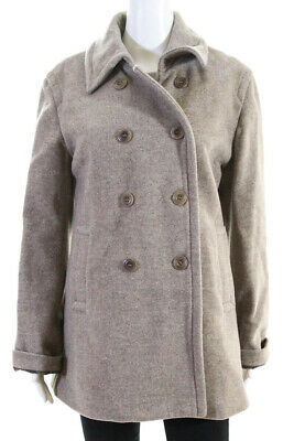 $ CDN45.66 • Buy M0851 Womens Double Breasted Button Up Wool Jacket Coat Beige Size Large