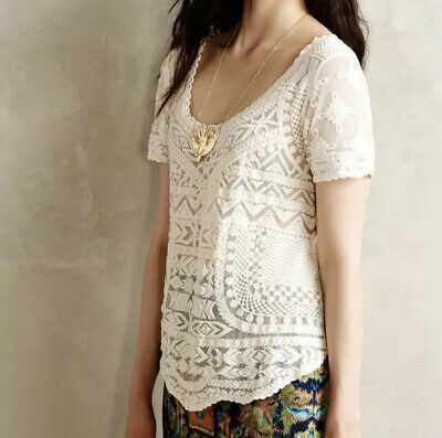 $ CDN25.25 • Buy Anthropologie XS Petite Meadow Rue Cream Embroidered Mesh Lace Short Sleeve Top
