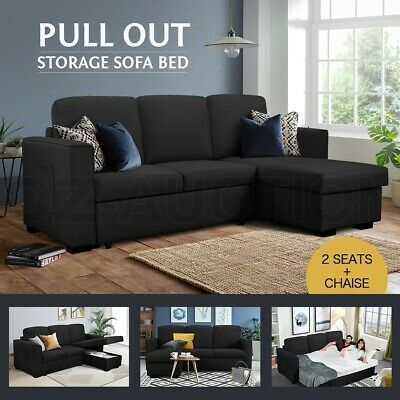 AU779.95 • Buy Sofa Bed Lounge Couch Set Fabric 3 Seater Corner Storage Sofa Chaise Black
