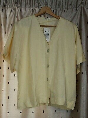 AU30.91 • Buy OYSHO ~ Yellow Linen / Viscose Blend Button Up Top ~ Size M ~ NWT