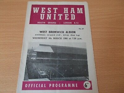 West Ham V West Brom League Cup Final  Programme Dated 9-3-1966.  (1091)  • 19.99£