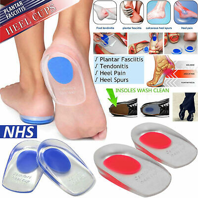 Fast Foot Pain Relief Plantar Fasciitis Gel Heel Support Cushion Insoles Cup Pad • 2.19£