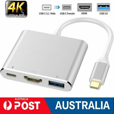 AU18.99 • Buy 3IN1 USB-C Type-C To HDMI Multiport Adapter USB 3.0 Hub 4K HD Video Converter