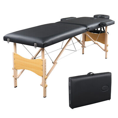 $79.95 • Buy Portable 2-Fold Massage Table Bed Spa Salon Facial Tattoo Physical Therapy Black