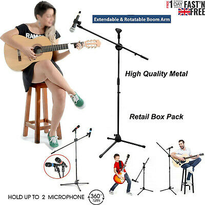 Adjustable Microphone Stand Boom Arm Holder & Mic Clip Stage Studio Party Tripod • 12.59£