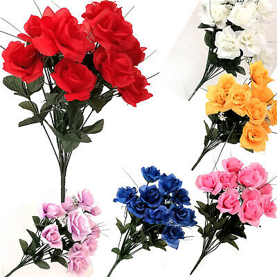 £2.99 • Buy 12 Heads Stems Artificial Silk Flowers OpenRose Bunch Wedding Home Grave Outdoor
