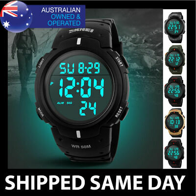 AU24.95 • Buy MENS WATERPROOF SKMEI DIGITAL SPORTS WATCH Gold Military Army Water Resistant 62
