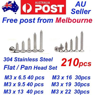 AU12.99 • Buy 240pcs M3 304 Stainless Steel Pan Flat Head Self-Tapping Screws Assorted Kit Set