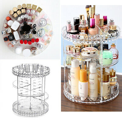 360 Degrees Cosmetic Makeup Organiser Storage Box Shelf Clear Rotating Display • 7.99£
