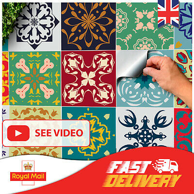 24 Tile Stickers Moroccan Victorian Mosaic Tile Transfers 6x6 Tile Covers Decals • 6.49£