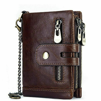 Men Leather RFID Anti-theft Chain Cash Purse Biker Wallet Card Holder • 12.28£
