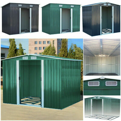 New Metal Garden Shed 6 X 4, 7 X 4, 8 X 6, 10 X 8 12 X 10 Storage WITH FREE BASE • 209.99£