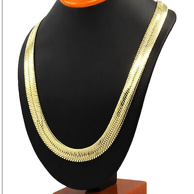 Herringbone Chain 14k Yellow Gold Plated Hip Hop Necklace Flat Snake • 3.27£