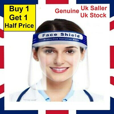 Top QUALITY Full Face Shield Visor Protection Mask Safety Clear PPE UK Stock • 4.99£