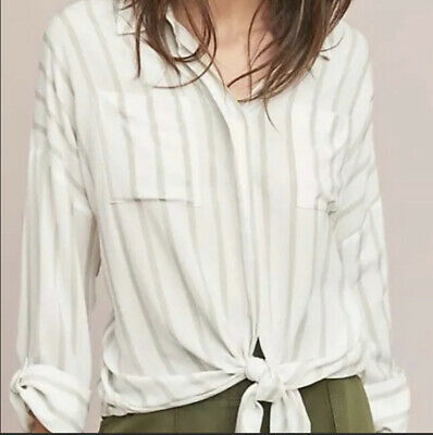 $ CDN47.54 • Buy Anthropologie Maeve Striped Top Blouse White Neutral Tie Front Extra Large XL