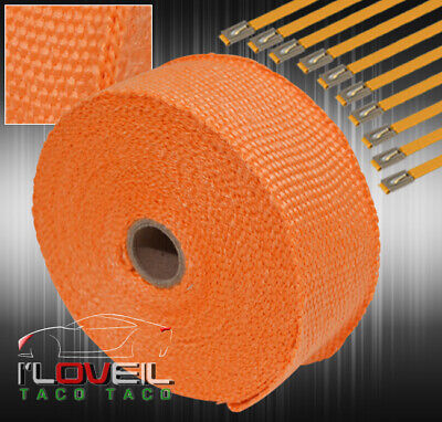 $ CDN29.76 • Buy 30 Feet Exhaust Header Forced Induction Piping Heat Wrap Cover+Steel Ties Orange