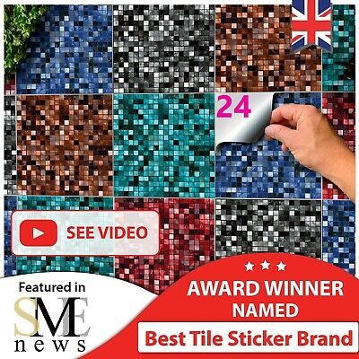 £7.99 • Buy 48/24 Tile Stickers 6x6 Inch Peel N Stick Mosaic Tile Transfers 15x15 Cm Decals