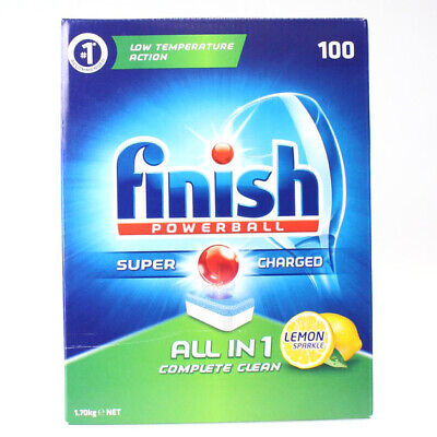 AU24.79 • Buy Finish PK100 Powerball Dishwashing Tablets Super Charged All-in-1 Lemon Sparkle