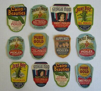 Lot Of 12 Old Vintage 1930's PICKLE - JAR LABELS - Cairo Georgia - All Different • 11.45£