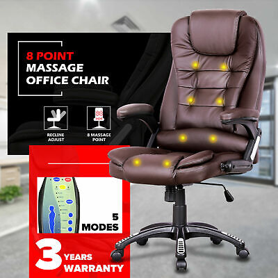 AU135.90 • Buy 8 Point Heated Massage Executive Office Computer Chair Seat Pu Leather Brown
