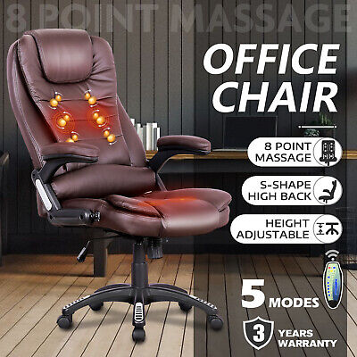 AU179.90 • Buy 8 Point Heated Massage Office Chair Executive Computer PU Leather Seat Brown