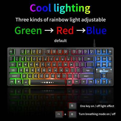 AU29.51 • Buy 3 Color Compact Gaming Mechanical Keyboard Rainbow RGB Backlit LED Switch 87Keys