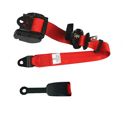 $34.70 • Buy 3 Point Adjustable Retractable Car Seat Belt Lap Safety Belt With Warning Cable