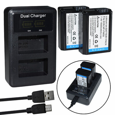 $ CDN28.39 • Buy 2X NP-FW50 Battery+ Charger For Sony A7r II A7S II DSC-RX10, RX10 IV Alpha A6500