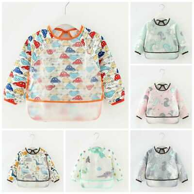 AU7.80 • Buy Baby Kid Bib Apron Smock Pocket Waterproof Long Sleeve Art Feeding Painting 0-4y