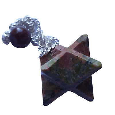 Gemstone Merkaba / Star Pendulum With Chain - Green / Red Sunstone • 6.50£
