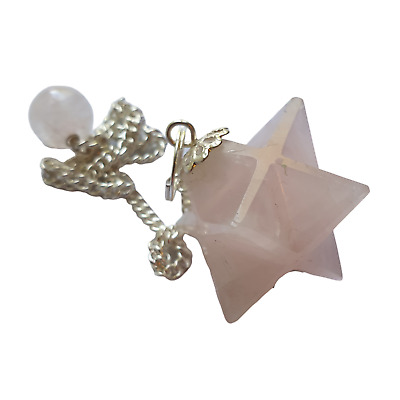 Gemstone Merkaba / Star Pendulum With Chain - Rose Quartz - Love • 6.50£